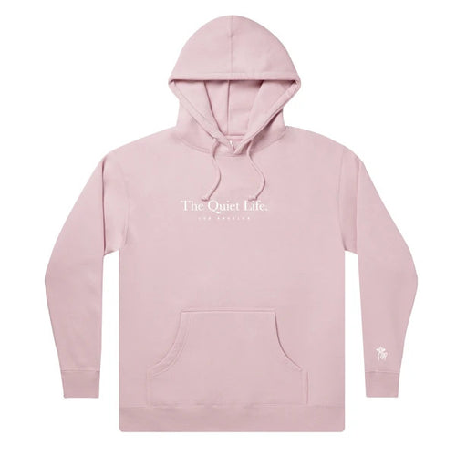 The Quiet Life Serif Embroidered Hoodie - Dusty Pink