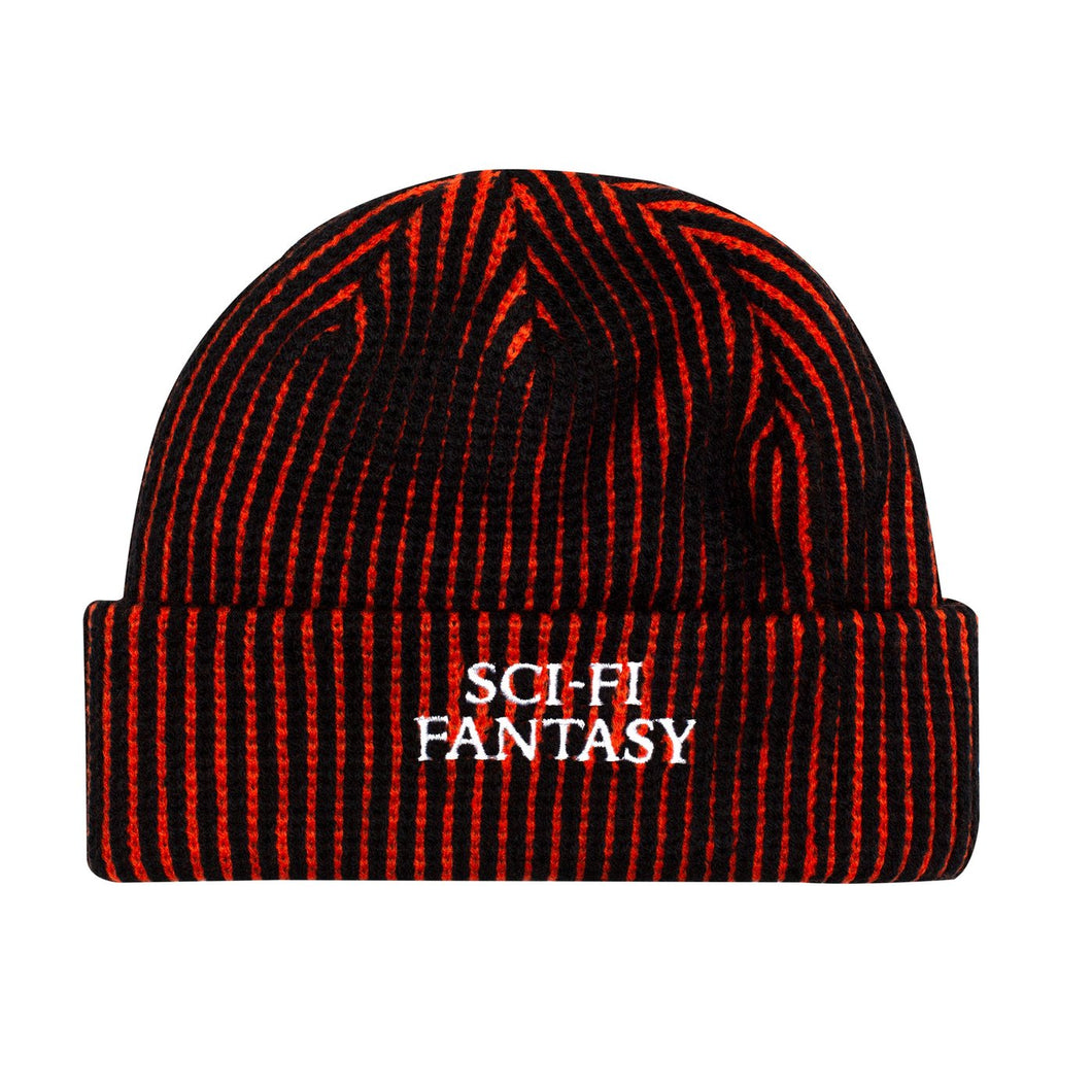 Sci-Fi Fantasy Striped Logo Beanie - Black/Orange