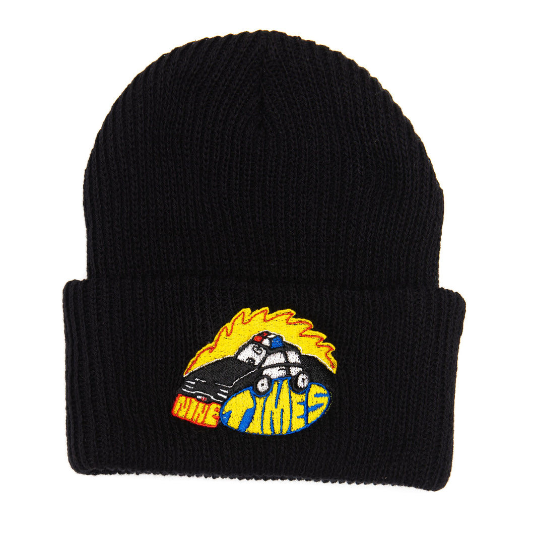 Ninetimes Embroidered Fast Car Beanie - Black