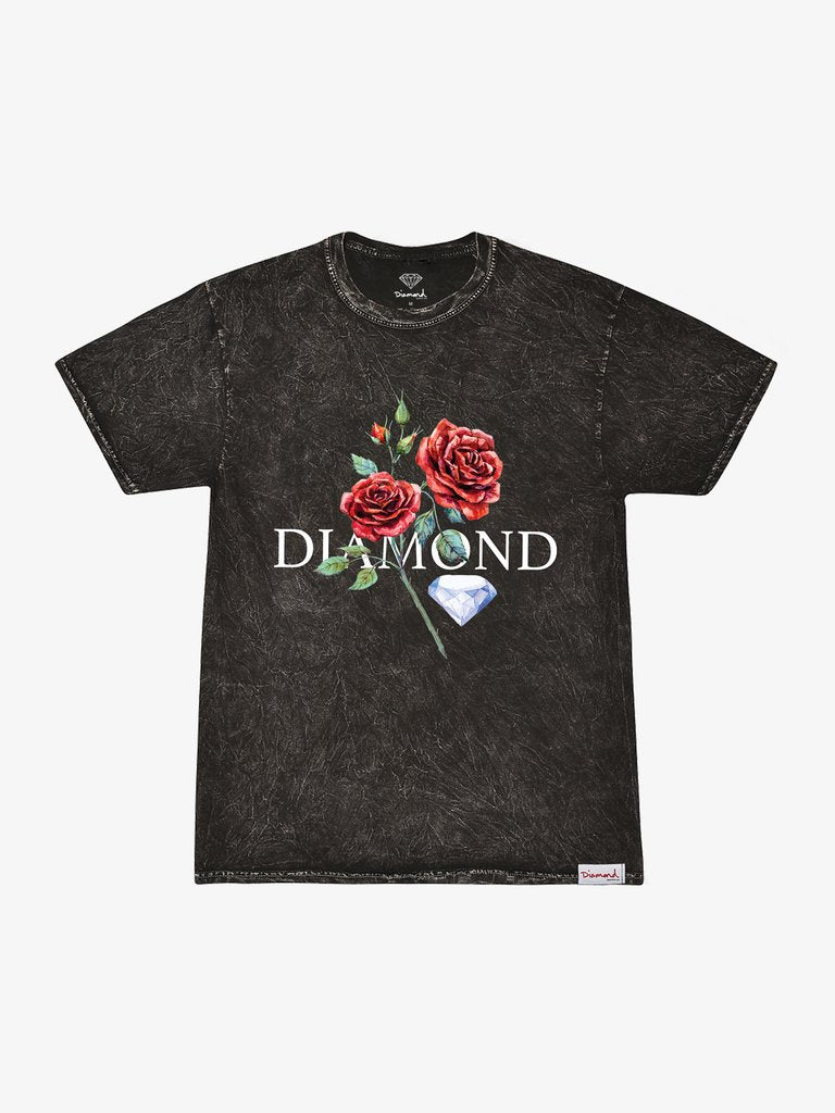 Diamond Red Rose Mineral Wash Tee - Black