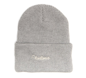 Ninetimes Script Embroidered Beanie - Heather Grey
