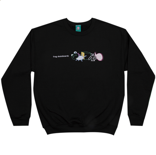 Frog Peaceful Block Logo Crewneck - Black