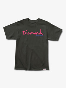 Diamond OG Script Overdyed Tee - Black