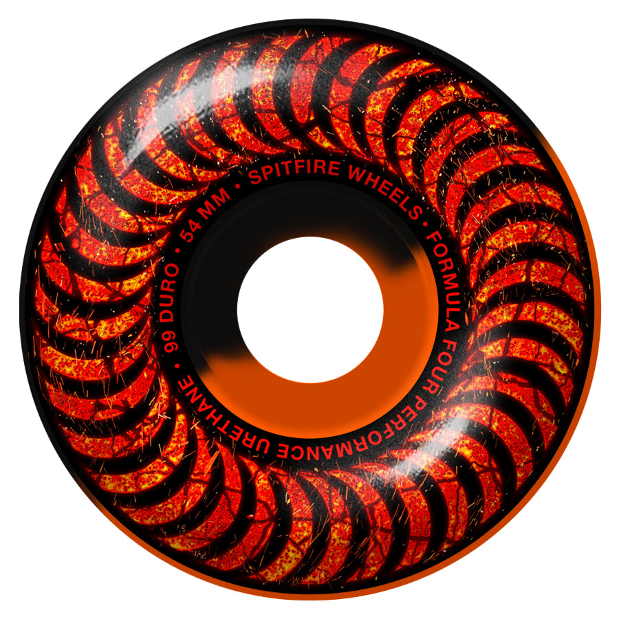 Spitfire Formula Four Classic Embers Wheels - 99D 54mm Black/Orange Swirl