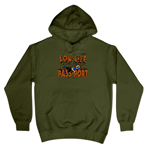 Pass-Port Life Low Life Brick Hoodie - Army Green