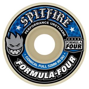 Spitfire Formula Four Conical Full Wheels - 99D 52mm Blue Print