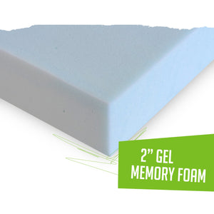 "2"" Gel Memory Foam Mattress Topper 