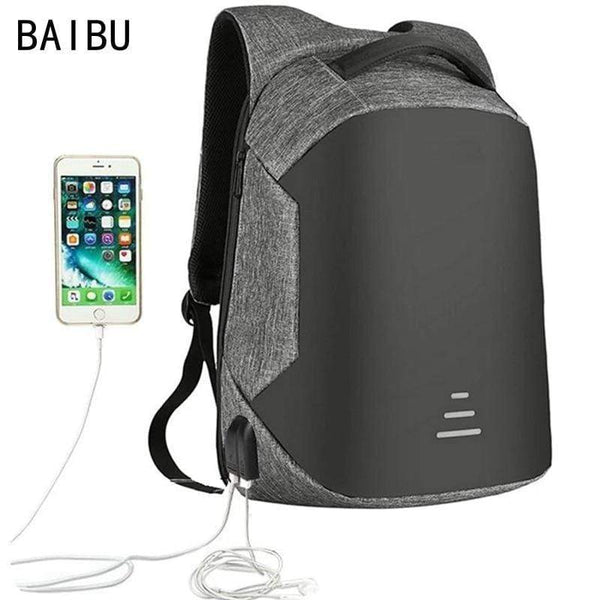 BAIBU Men USB Charging Backpack Headphone waterproof Business Large Travel Backpack - kassouanet