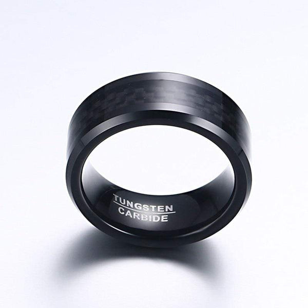 Black Carbon Fiber Mens Rings Tungsten Carbide - kassouanet