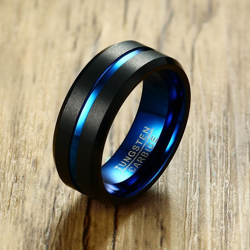 Blue Black Carbon Fiber Rings - kassouanet