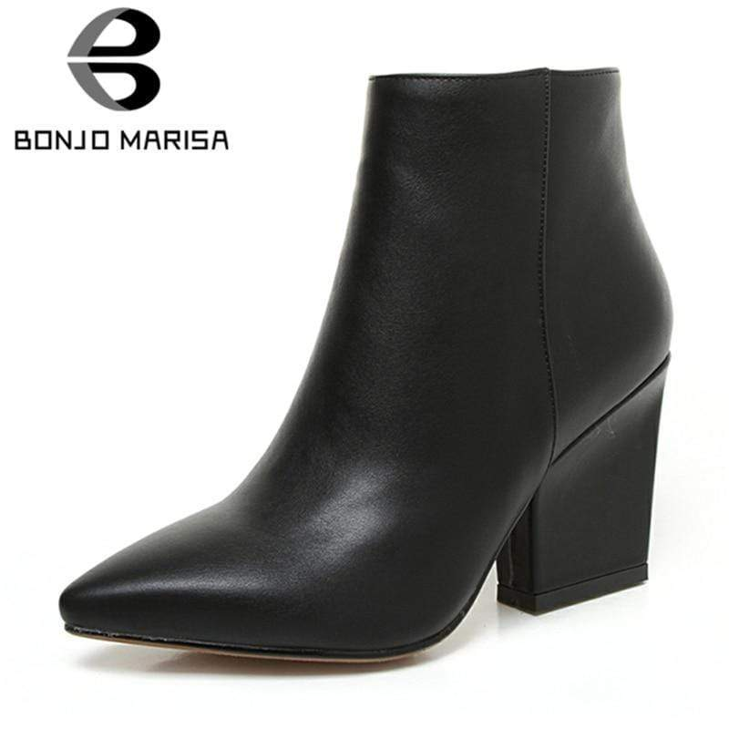 BONJOMARISA 2019 Winter Solid OL Mature Black Ankle Boots Women Zip Closure Pointed Toe High Heels - kassouanet