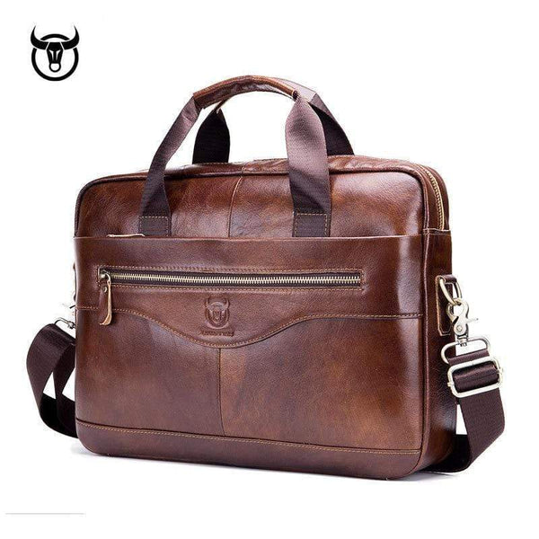 Genuine leather men's Briefcase vintage business computer shoulder male Handbags - kassouanet