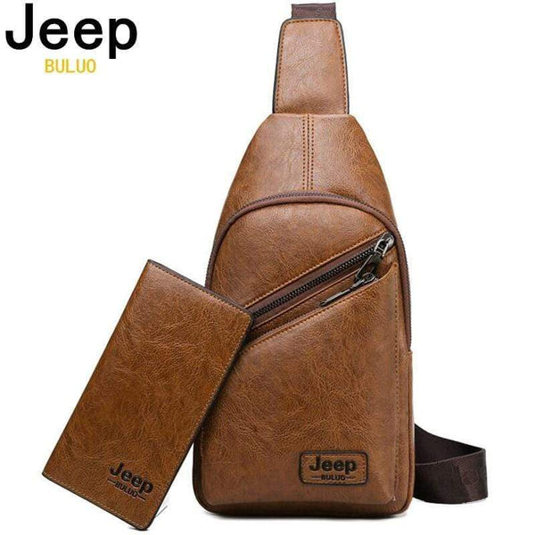 JEEP BULUO Brand Men Sling Bags 2Pcs/Set Leather Chest Bag - kassouanet
