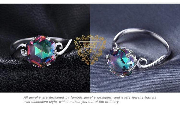 JewelryPalace 3.2ct Genuine Rainbow Fire Mystic Topaz Quartz Ring 925 Sterling Silver Rings Gemstone Ring Fine Jewelry For Women Kassouanet