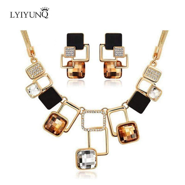 Luxury Austrian Crystals Square Snake Chain Necklace Geometric Earrings Square  Jewelry - kassouanet