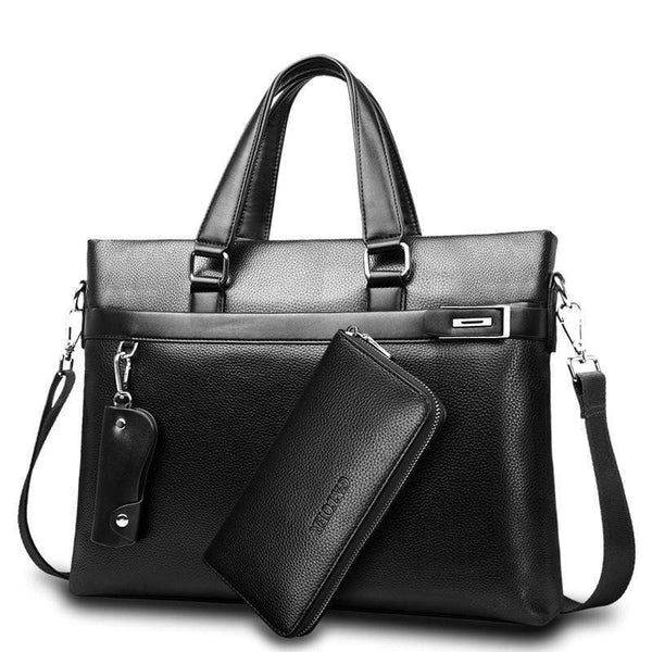 Men New Fashion Briefcase PU Leather High Quality Handbags - kassouanet