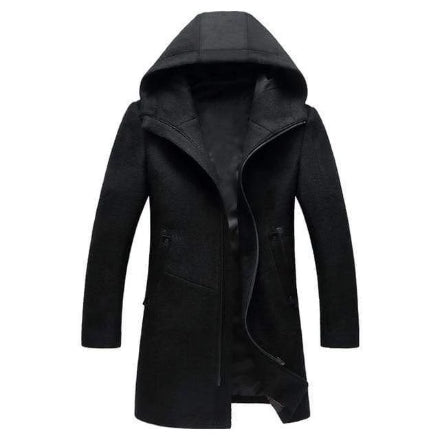 Mens winter Long Hooded Wool Trench Coat - kassouanet