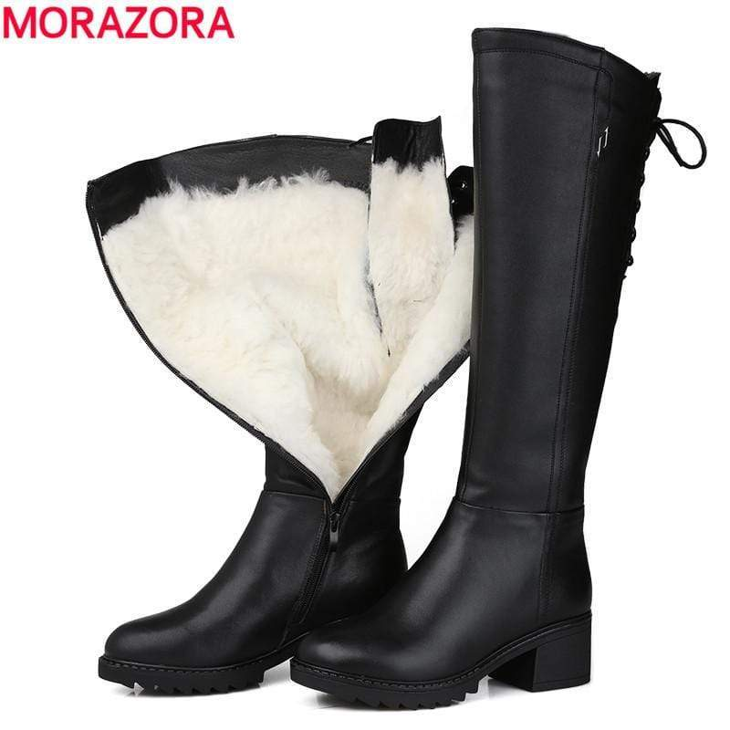 MORAZORA Russia 2019 Genuine Leather Women Warm Natural High Knee Winter Snow Boots - kassouanet