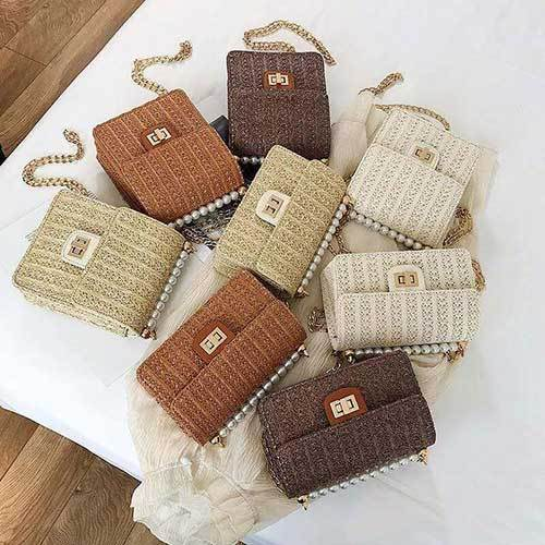 New 2019 Pearl Woven Rattan Women Shoulder Bag  HandBag Klicy