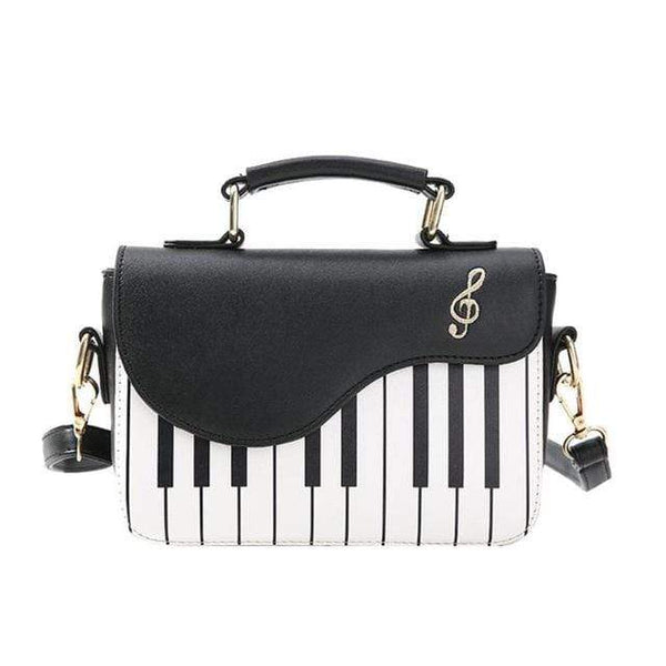 Piano Leather Handbag Black Klicy