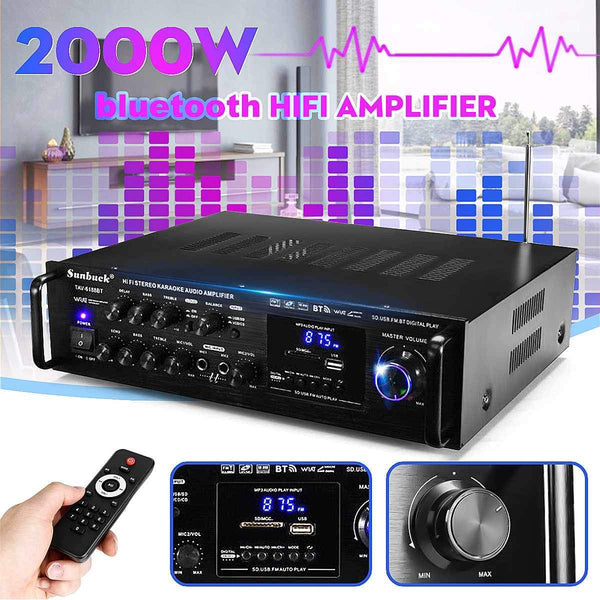 Powerful 2000W 110V 220V bluetooth 4ohm Stereo Audio Power HiFi Amplifier Karaoke Amplifier+RC Support 2 MIC FM Power Amplifier Kassouanet