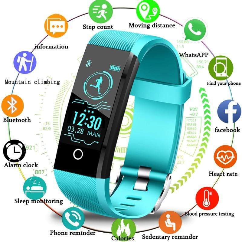 Waterproof Smart Wristband Heart Rate Tracker Blood Pressure Oxygen Fitness - kassouanet
