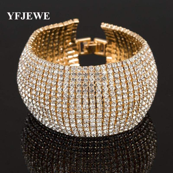 YFJEWE Luxury Classic Crystal Pave Link Bracelet - kassouanet