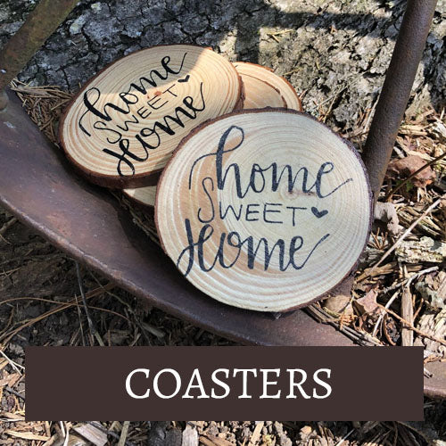Ozark Mountain Wood Burning: Coasters Collection | stamped wood coasters, wood burned coasters, live edge coasters