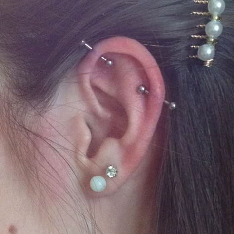 piercing oreille helix double