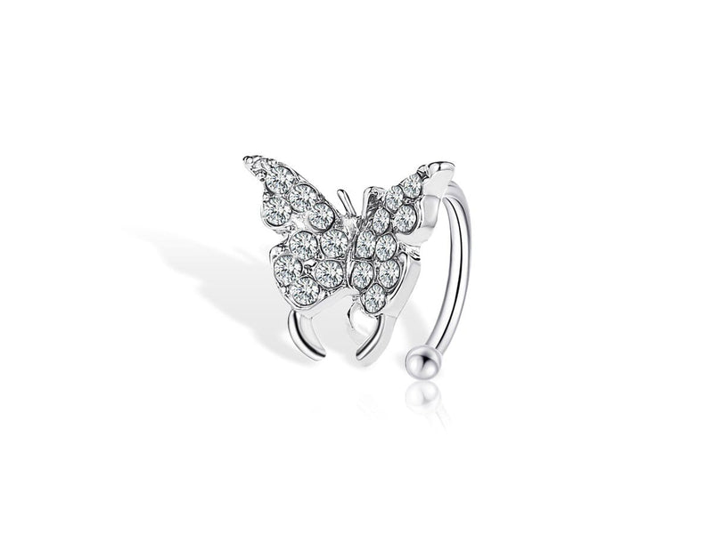 Faux Piercing Oreille <br> Papillon Diamant