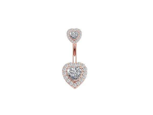 Piercing Nombril Banane <br> Cœur en Diamant