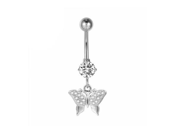 Piercing Nombril <br> Papillon Argent