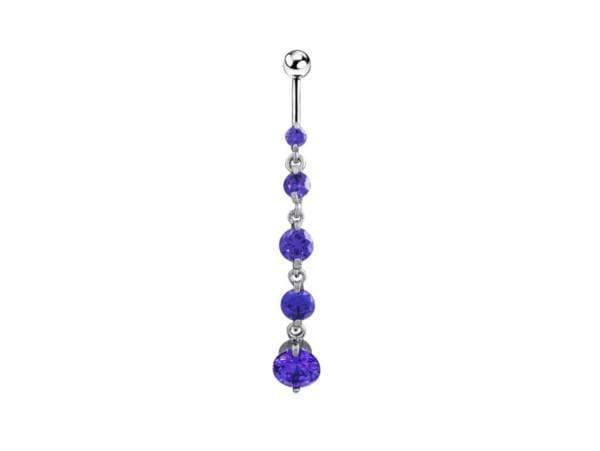 Piercing Nombril <br> Pierres Violettes