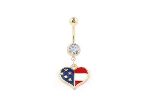 Piercing Nombril <br> Coeur en Or