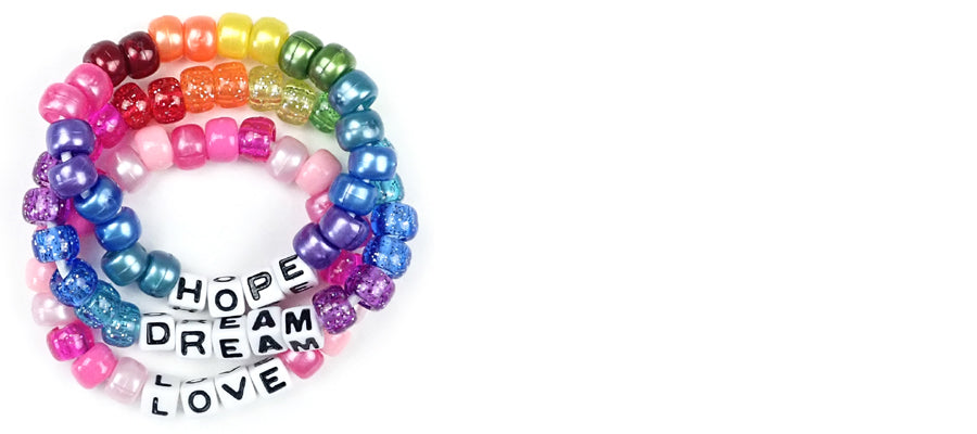 Valentine's Day Bead Bracelets with Words - Ideas & Instructions