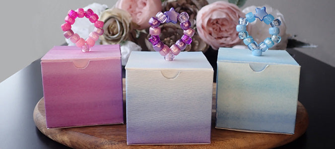 DIY gift boxes with custom beaded pull tabs