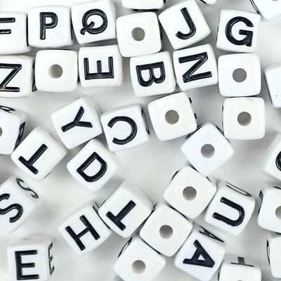 vertical hole cube alphabet beads