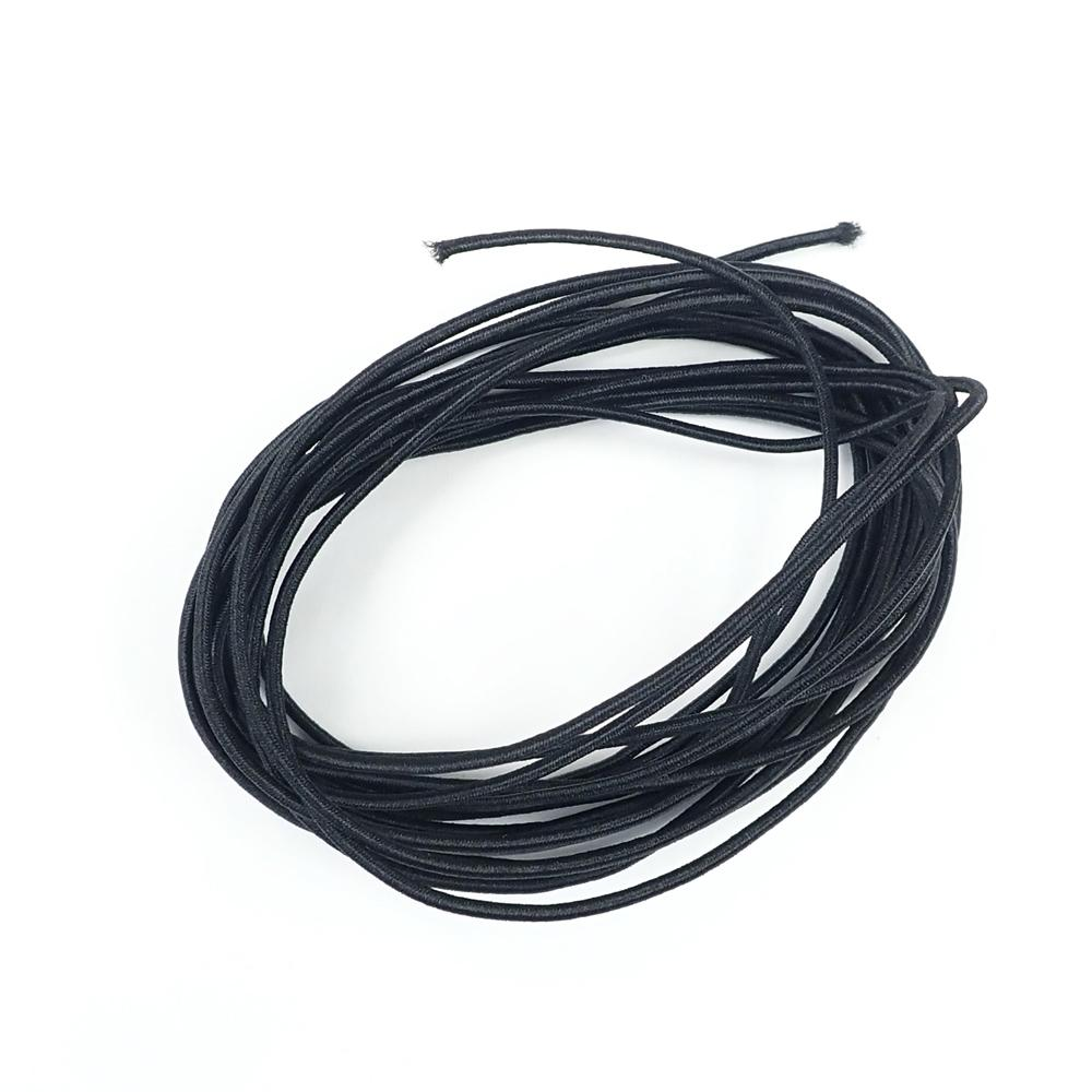 Black Round Elastic Cord, 1.5mm thick, 40 meter spool (43.75 yds)