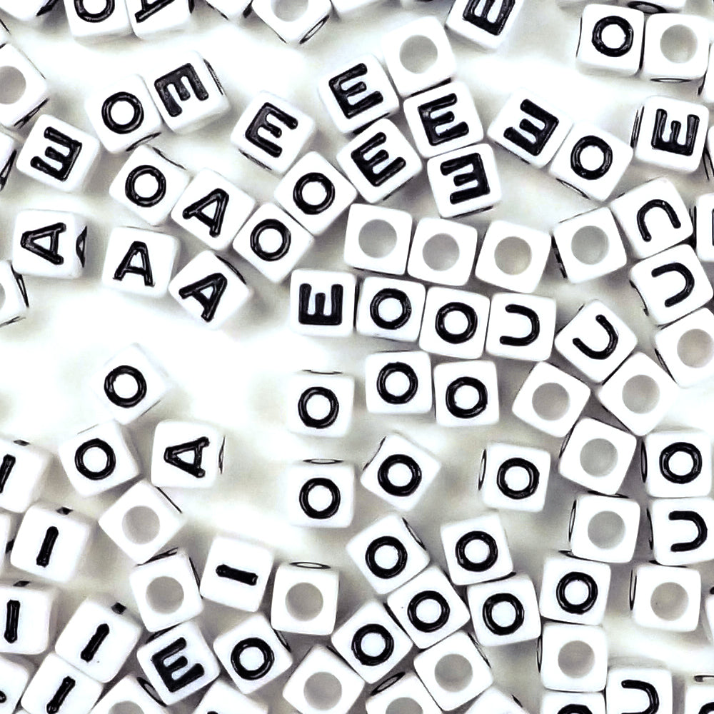 white cube vowel beads
