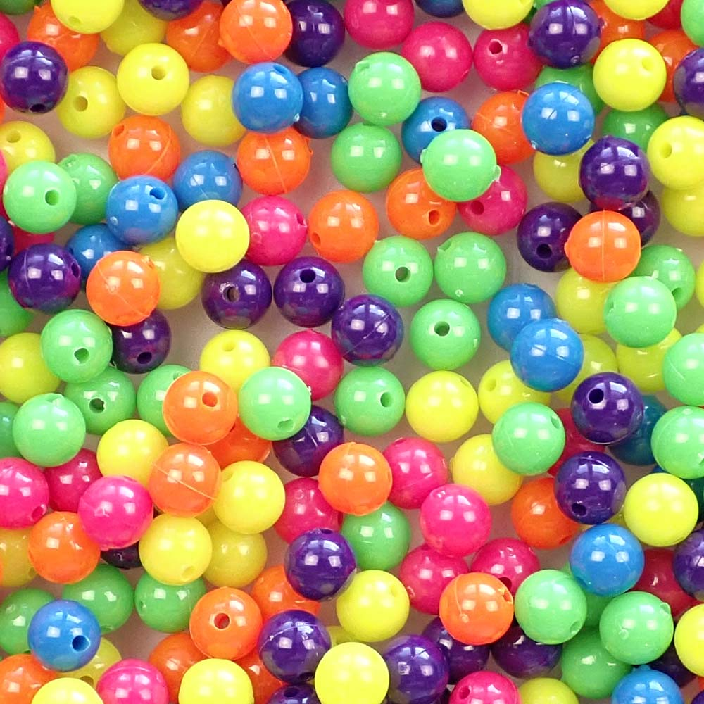 Neon Mix 8mm Round Plastic Craft Beads, 500 beads