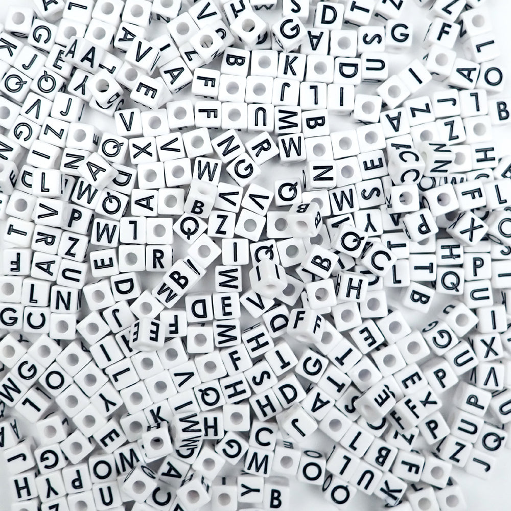 white cube vertical hole alphabet beads