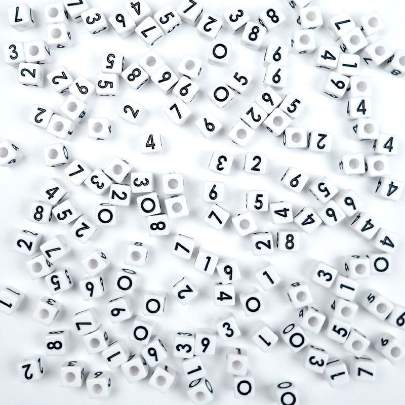 white cube vertical hole number beads