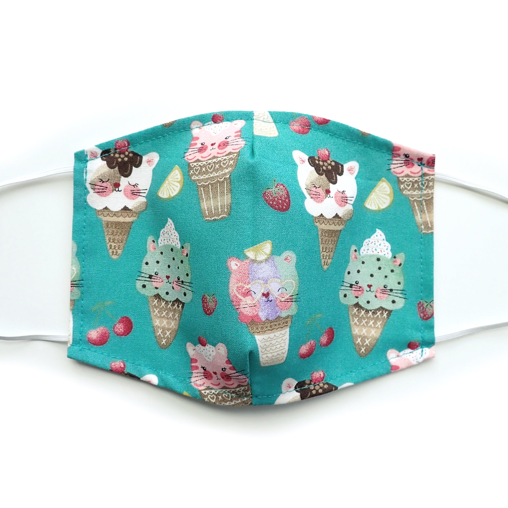 Ice Cream Kitties for cat lovers, 100% Cotton Face Mask, adjustable w/ nose wire & pocket