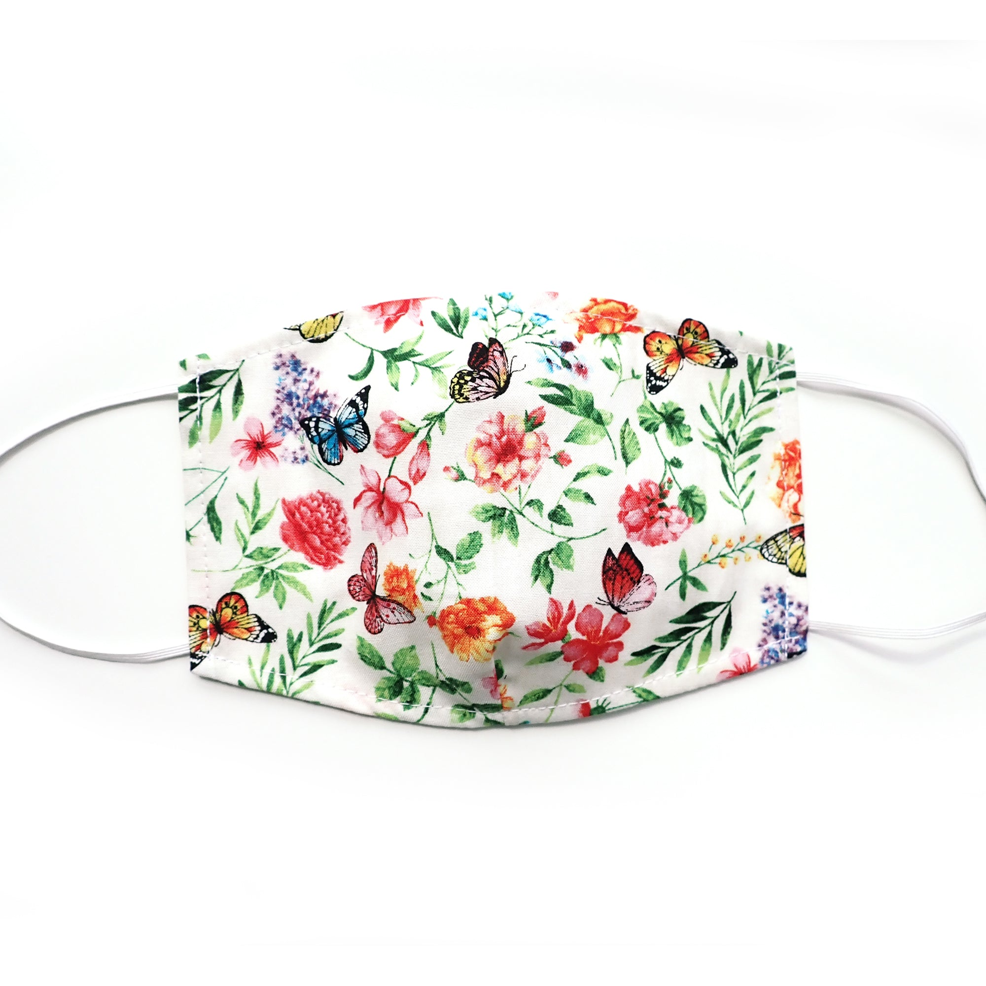 White Butterfly Floral, 100% Cotton Face Mask, adjustable w/ nose wire & pocket