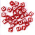 Plastic Red 7mm Cube Alphabet Beads, (Horizontal) Single Letters, 45 beads