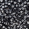 Plastic Black Mixed Alphabet Beads, 7mm Cube, (Horizontal), 500 beads