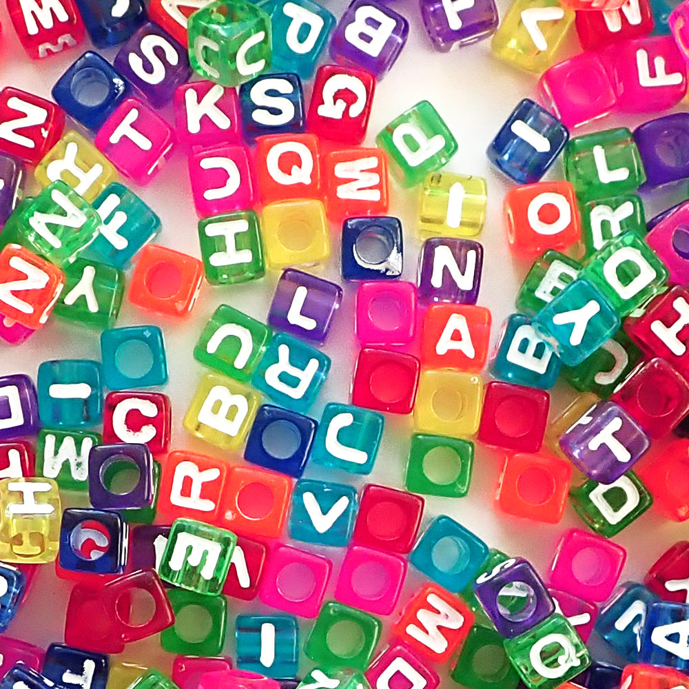 Plastic Transparent Colored Alphabet Beads, Mixed Colors & Letters, (Horizontal) 7mm Cube, 500 beads