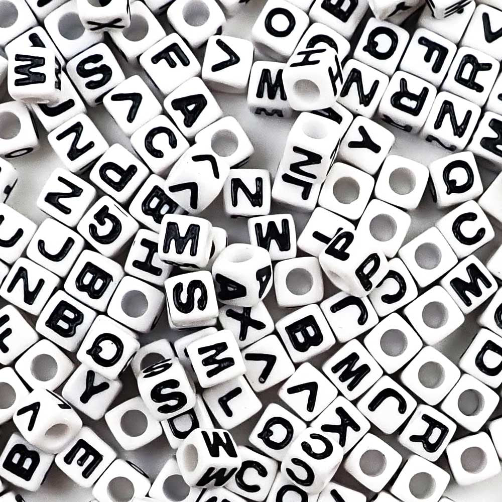 7mm plastic cube alphabet letter beads