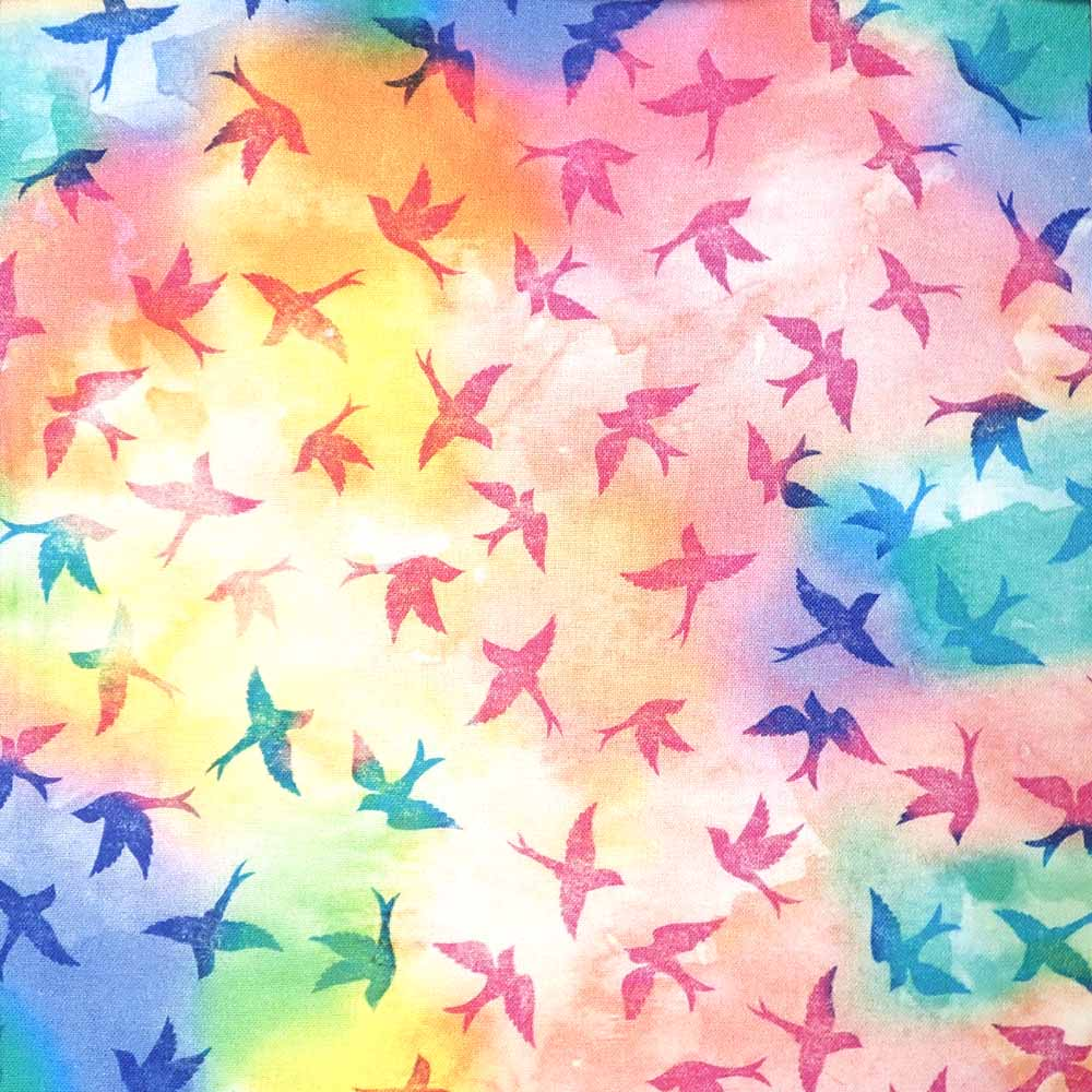 Bird, Multi Color, 100% Cotton Fabric, per yard