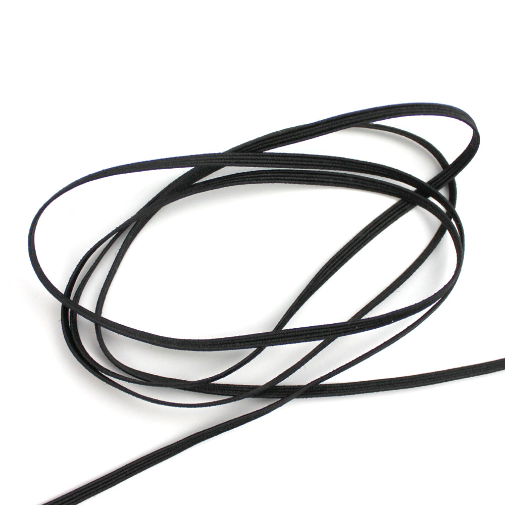 Black Flat Elastic Cord, 3mm wide, 15 yards